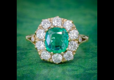 EMERALD DIAMOND CLUSTER RING 2CT EMERALD 1.50CT DIAMOND 18CT GOLD COVER